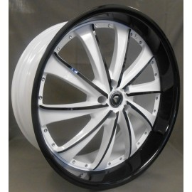 0016  White Diamand Wheel 20''X8.5 BLACK & WHITE