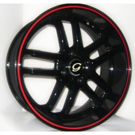 GL817 17X7.5 BLACK CENTER RED LIP